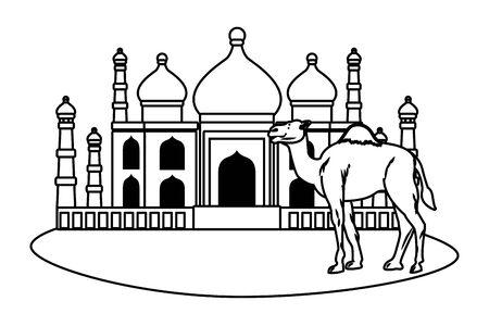Taj mahal and camel cartoon scenery vector illustration graphic design