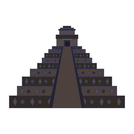 Mexican pyramid monument isolated design