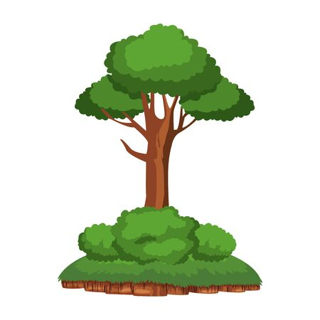 leafy tree and shrubbery over a piece of ground icon cartoon isolated