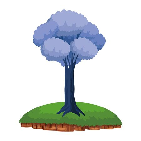leafy and colorful tree icon with purple foliange over a piece of ground cartoon vector illustration graphic design