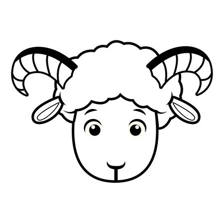 Goat head frontview cartoon isolated vector illustration graphic design