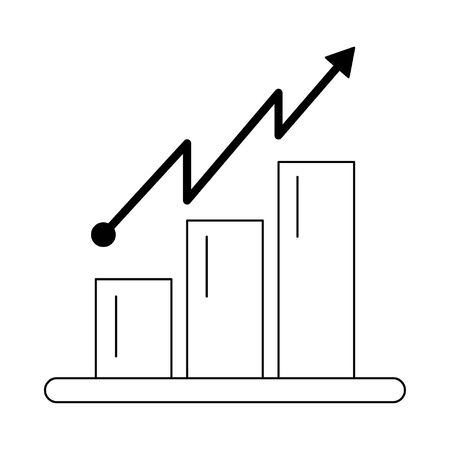 Data bars graph with tendency line isolated vector illustration graphic design