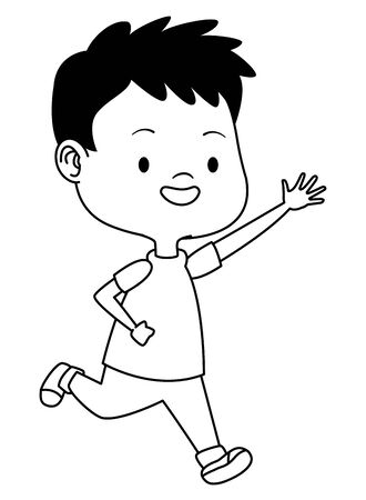 Cute boy children running, smiling and having fun cartoon vector illustration graphic design. Çizim