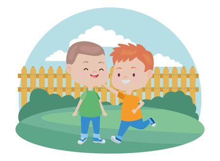 happy kids boys playing and having fun in the garden ,vector illustration graphic design.