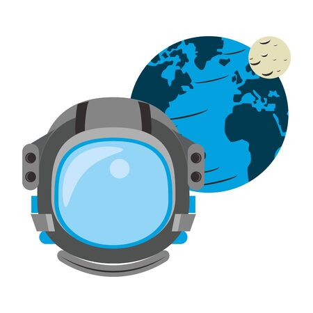 universe space galaxy astronomy science astronaut with planet cartoon vector illustration graphic design Illustration