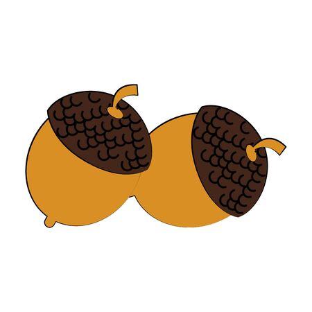 Nuts autumn snacks cartoon isolated vector illustration graphic design