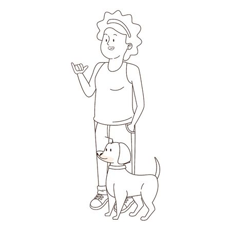 Teenager afroamerican woman walking the dog and greeting isolated,vector illustration graphic design. Ilustrace