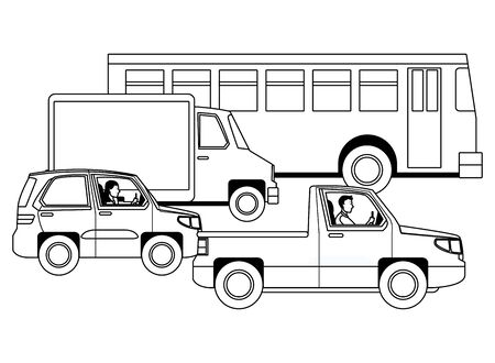 People driving pick up, truck car and bus in the traffic vector illustration graphic design.