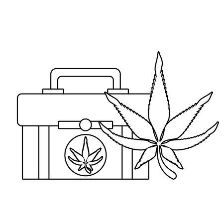 cannabis marijuana  medical marijuana sativa hemp medicine plant kit cartoon vector illustration graphic design Illustration