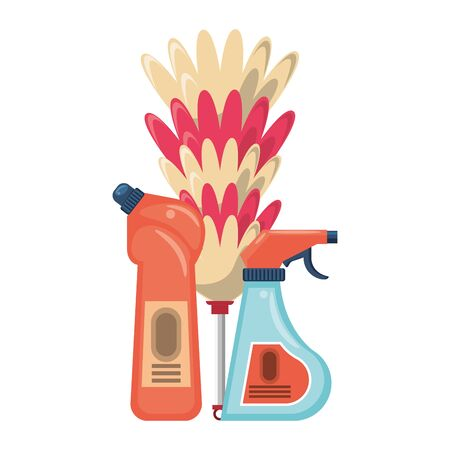 Cleaning equipment and products soap and disinfectant bottles with cobweb brush vector illustration graphic design. Stok Fotoğraf - 128888331