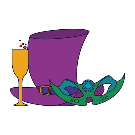 party mask with hat and champagne glass festive carnival costume celebration decoration cartoon vector illustration graphic design