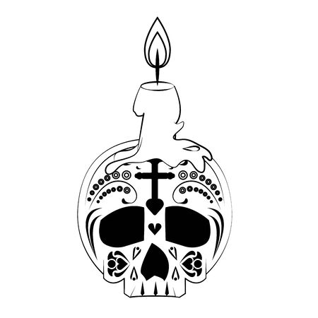 mexican culture mexico festival, dia de los muertos skull cartoon vector illustration graphic design Illustration