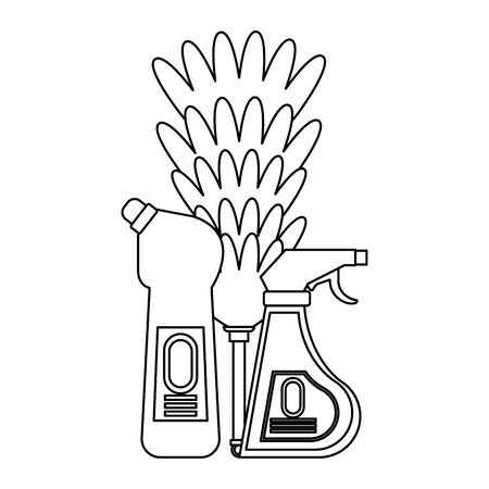 Cleaning equipment and products soap and disinfectant bottles with cobweb brush vector illustration graphic design.