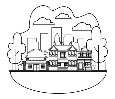 Edifici urbani e architettura della città, classici moderni e oggetti d'antiquariato immobili in progettazione grafica di illustrazione vettoriale in bianco e nero. Vettoriali