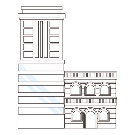 Urban buildings and city architecture, modern classics and antiques real estates edifices in black and white vector illustration graphic design.