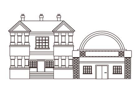 Urban buildings and city architecture, modern classics and antiques real estates edifices in black and white vector illustration graphic design. Vettoriali
