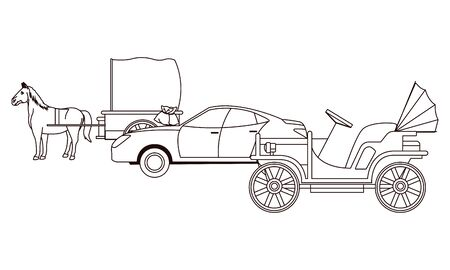 Classic cars and antique horse carriage, vintage and retro vehicles in black and white vector illustration graphic design.