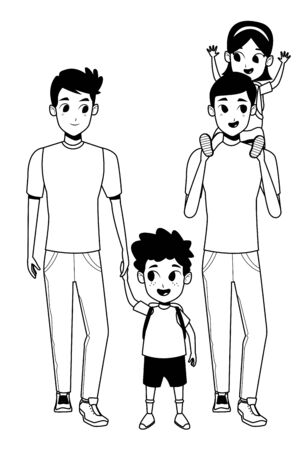 Family two fathers with daughter and son holding school backpacks isolated vector illustration graphic design Ilustracja