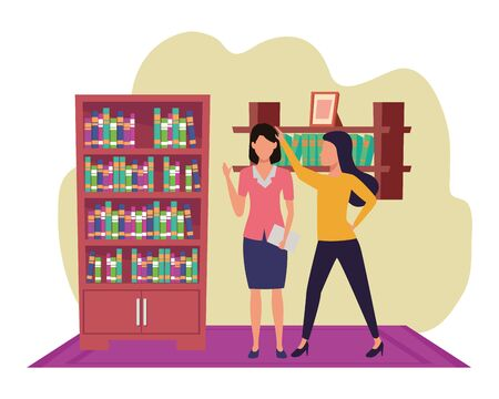 Two business partners working, executive entrepreneur teamwork in house with library study room vector illustration graphic design.