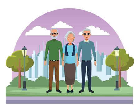 old people friends smiling grandparents on city park scenery background ,vector illustration graphic design.