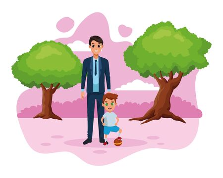 Family single father with little son with ball cartoon in the nature park scenery vector illustration graphic design Ilustracja