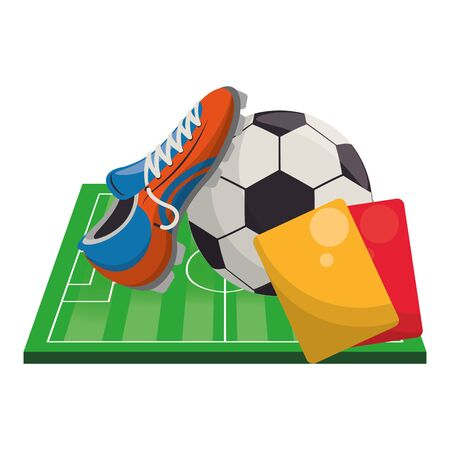 Soccer football sport game ball and boot with referee card on playfield vector illustration graphic design Ilustração