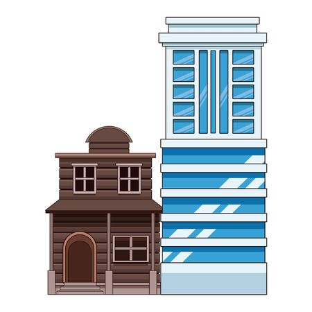 Urban buildings and city architecture, modern classics and antiques real estates edifices vector illustration graphic design.