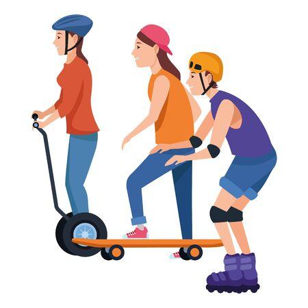 Junge Leute fahren mit Skateboard, Elektroroller und Schlittschuhen, die Accessoires tragen, Vektorillustrationsgrafikdesign.