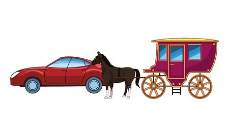 cars and antique horse carriage, vintage and retro vehicles vector illustration graphic design. Çizim