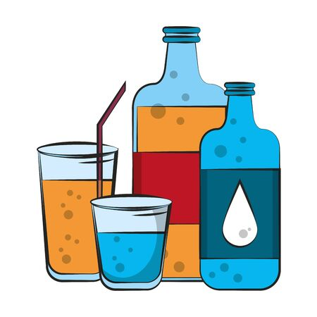 healthy diet nutrition drinking lifestyle, vegan and organic drinks objects cartoon vector illustration graphic design  イラスト・ベクター素材