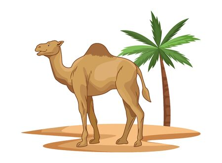 Camel in desert with palm tree cartoon isolated vector illustration graphic design Vector Illustratie