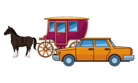cars and antique horse carriage, vintage and retro vehicles vector illustration graphic design.  イラスト・ベクター素材