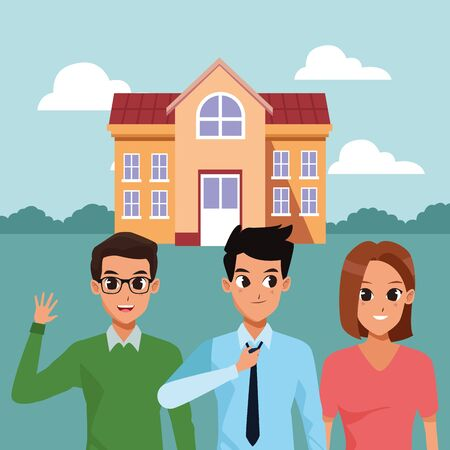 Roomates smiling outside house at park cartoons vector illustration graphic design