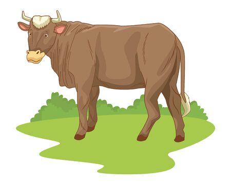 Cow in nature scenery cartoon vector illustration graphic design