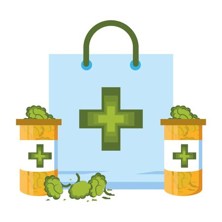 cannabis martihuana medical marijuana medicine sativa hemp buds bottles cartoon vector illustration graphic design