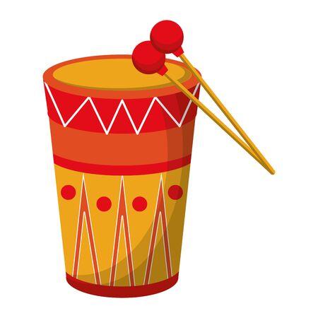 music instrument musical drum object cartoon vector illustration graphic design Stock Vector - 128918756