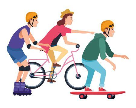 Giovani in sella con biciclette skateboard e pattini a rotelle weating accessori, disegno grafico di illustrazione vettoriale.