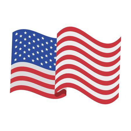 Estados Unidos independencia americana 4 de julio patriótico celebración feliz bandera de Estados Unidos aislado ilustración vectorial de dibujos animados diseño gráfico Ilustración de vector
