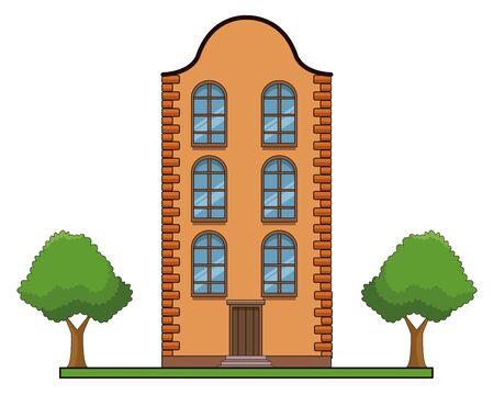 Classic bricks edifice real estate urban building with trees and garden vector illustration graphic design.