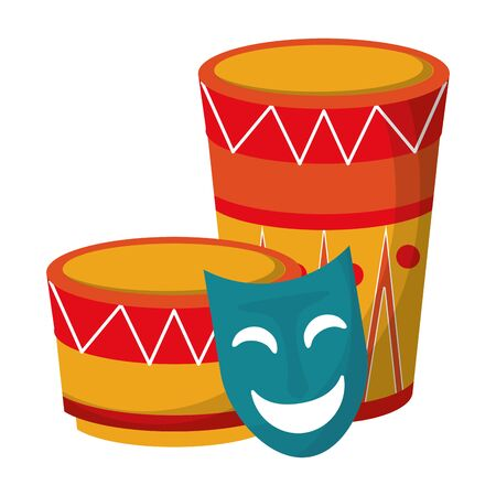 party mask with drums festive carnival costume celebration decoration cartoon vector illustration graphic design