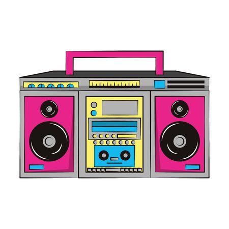 Pop-Art-Retro-Vintage-Klassiker cool trendy, Soul-Disco-Musik-Recorder-Karikatur-Vektor-Illustration-Grafik-Design