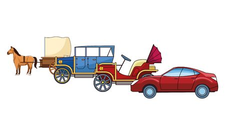 Classic cars and antique horse carriage, vintage and retro vehicles vector illustration graphic design.