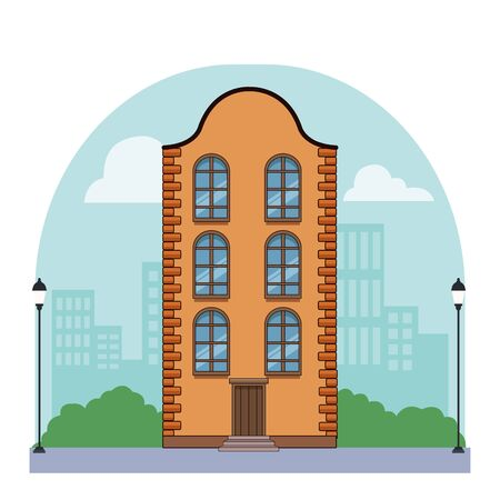 Classic bricks edifice real estate urban building in the city town with street lights background vector illustration graphic design. Ilustração
