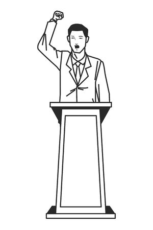 man making a speech from podium with his fist in the air like protest sign in black and white avatar cartoon character vector illustration graphic design