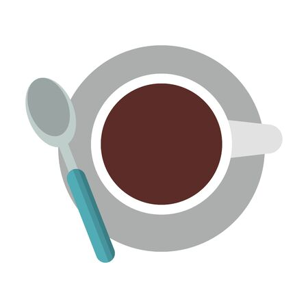 Coffee cup with spoon on disk topview cartoon vector illustration graphic design