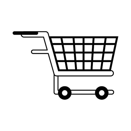 shopping concept element cart cartoon vector illustration graphic design in black and white