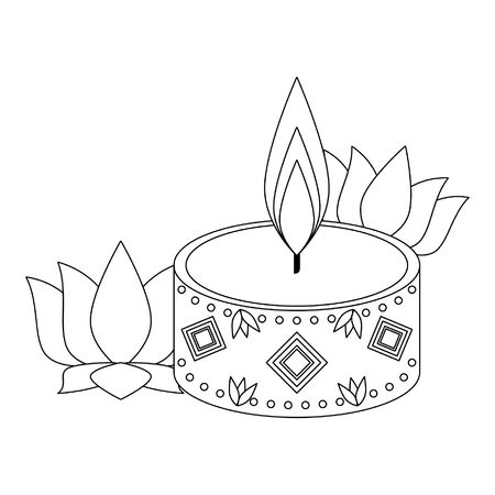 light candle with lotus flower icon cartoon isolated vector illustration graphic design