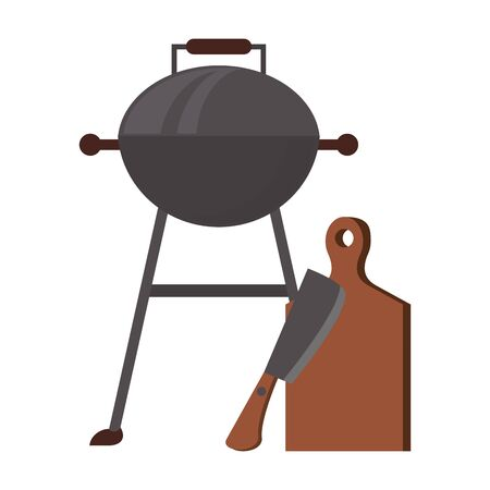 Kitchen barbecue utensils for grill table and axe vector illustration graphic design Stock Vector - 128985384