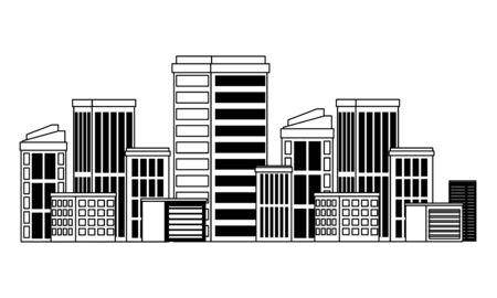 städtische Gebäude Baueigenschaften Cartoon-Vektor-Illustration-Grafik-Design Vektorgrafik