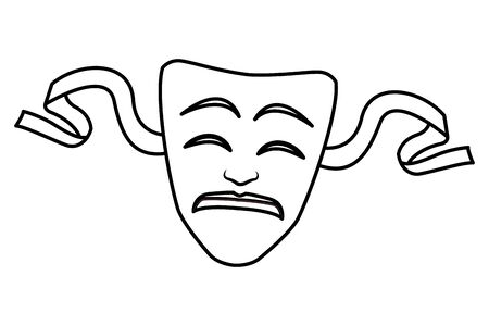 theater mask icon cartoon black and white vector illustration graphic design Ilustração